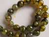 Cracked Fire Agate Facet Round Beads-Green Beads