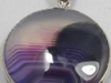Purple banded agate round cabochon pendant