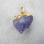 Amethyst raw stone pendant with gold plated pendant bail
