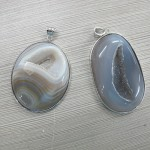 Grey Agate Geode Drusy Pendant