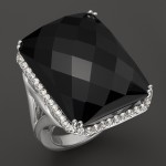 Black Onyx Facet Rectangle Cut steriling silver ring