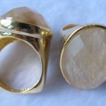 Golden Rutilated Quartz Imitation quartz stone brass ring