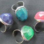 Dyed Agate Facet Cabochon Brass Ring