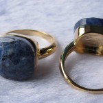 Sodalite Facet Square Cushion 14-16 mm cabochon ring
