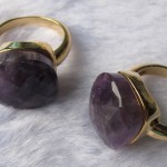 Purple Amethyst Quartz Facet Cushion Brass Ring