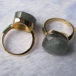 Labradorite facet cushion cabochon brass ring