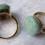 Amazonite square cushion cabochon ring
