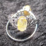 Natural Golden Rutilated Quartz oval cabochon silver ring