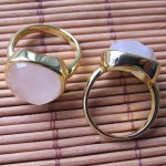 Rose quartz 14*14 mm facet cushion cabochon brass ring