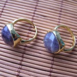 AMETHYST FACET SQUARE CABOCHON BRASS RING