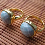 Blue Amazonite cushion cabochon ring