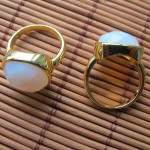 Opalie square cushion brass ring