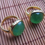 Green Jade facet square brass ring