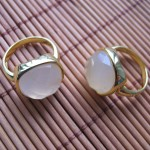White agate facet square brass ring