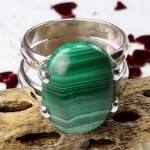 malachite oval cabochon silver ring
