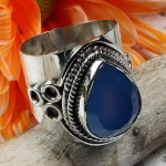 Blue agate facet pear cabochon ring