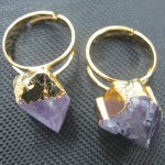 Amethyst raw stone gold wrapped ring