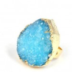 GJRG00059-Blue color druzy quarz free shape cabochon ring sizeable ring