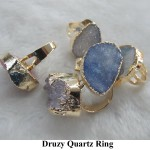druzy quartz cabochon brass ring