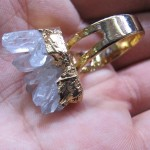 gold plated druzy quartz cluster ring