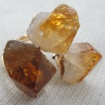 GJRG00072-Raw Citrine quartz rough stone gold plated 3 stone ring-view 1