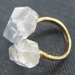 rock crystal machine cut clear quartz point brass ring