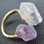 Rock crystal points and amethyst raw stone point 2 stone ring