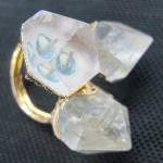 Rock crystal clear quartz point 3 stone ring