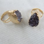 Purple amethyst gemstone geode slice durzy quartz ring