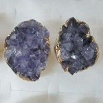 amethyst druzy quartz gold dip ring