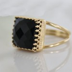 Black Onyx 16*16 mm checker board facet cut square cabochon brass ring