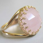 Rose quartz 16 mm facet round cabochon sterling silver ring