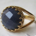 925 sterling silver gold plated blue gemstone ring