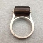 smoky quartz tube beads 925 sterling silver ring