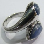Blue Kyanite Pear Shape cabochon 2 stone sterling silver ring