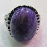 Natural Russian Charoite 15*20 mm oval cabochon silver ring