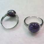 Russia charoite 15 mm round cabochon sterling silver ring