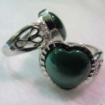Malachite 16*16 mm puffy heart cabochon sterling silver ring
