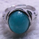 Peru Amazonite 10*14mm oval cabochon silver ring
