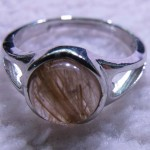Golden Rutilated Quartz round cabochon sterling silver ring