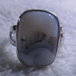Dendritic agate grey moss agate rectangle cushion ring sterling silver ring