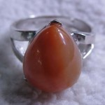 13*18 mm red carnelian agate pear cabochon sterling silver ring
