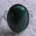 natural genuine malachite oval cabochon sterling silver ring