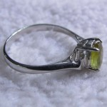 Natural Peridot oval cut gemstone engagement ring
